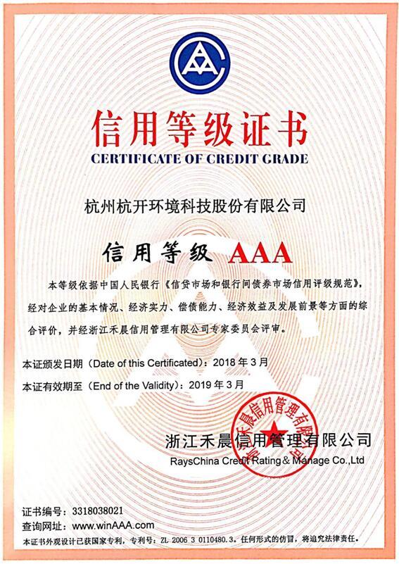 AAA信用等级证书1