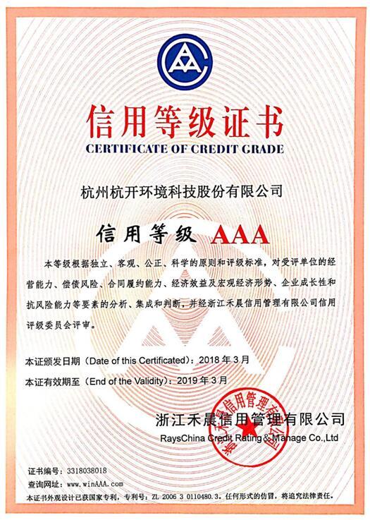 AAA信用等级证书2